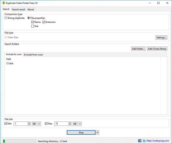 Windows 7 Duplicate Video Finder Free 2.6 full